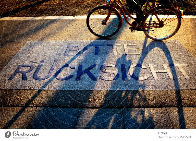 Bitte Rückssicht nehmen. Schriftzug auf einem Gehweg, Fahrradweg. Aufforderung zur Gegenseitigen Rücksichtnahme rücksichtnahme bitte