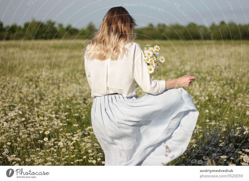 stilvolle junge blonde Frau, die an einem sonnigen Sommertag in einem Feld mit Gänseblümchen spazieren geht. laufen Margeriten Blumen Wiese Natur Menschen Glück