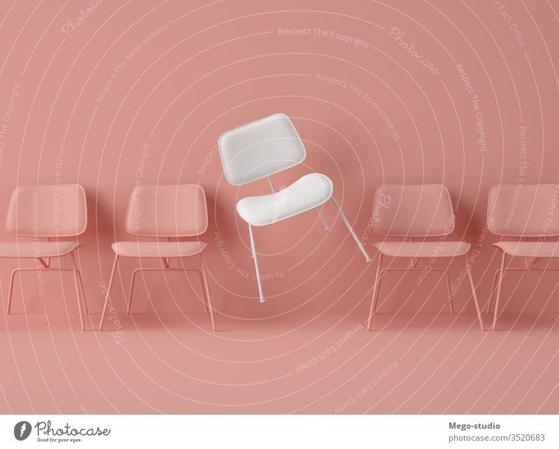 3D-Illustration. Stuhlreihe mit einem Stuhl in einer anderen Farbe. Business Job Gelegenheit 3d Objekt unbesetzt Kandidat Sitzung Mitarbeiter einzeln Innovation