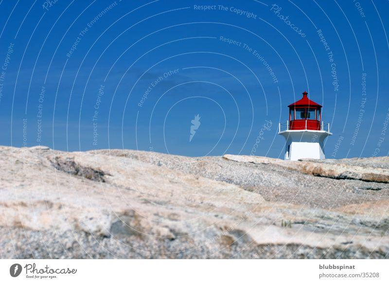 Peggy's Cove Lighthouse 2 Leuchtturm Meer Ostküste Architektur Nova Scotia Felsen Sonne Himmel
