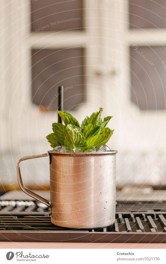Vertikales Foto eines Metallbechers voller Minze und Eis vertikal Bar Restaurant elegant metallisch Handgriff Tasse Container Stroh Fenster Kunststoff