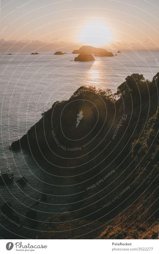 #AS# Meer trifft Sonne Sonnenaufgang Klippe Steilküste Felsen Meereslandschaft Neuseeland Schein nachdenklich träumen Paradies Wasser Reflexion & Spiegelung