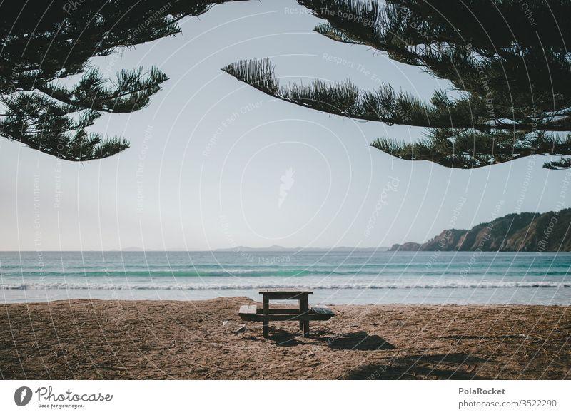 #As# Car&Breakfast Meer Ozean Strand Küste Aussicht Idylle Tisch Morgen Frühstückstisch Neuseeland Neuseeland Landschaft Natur Außenaufnahme Farbfoto Wasser