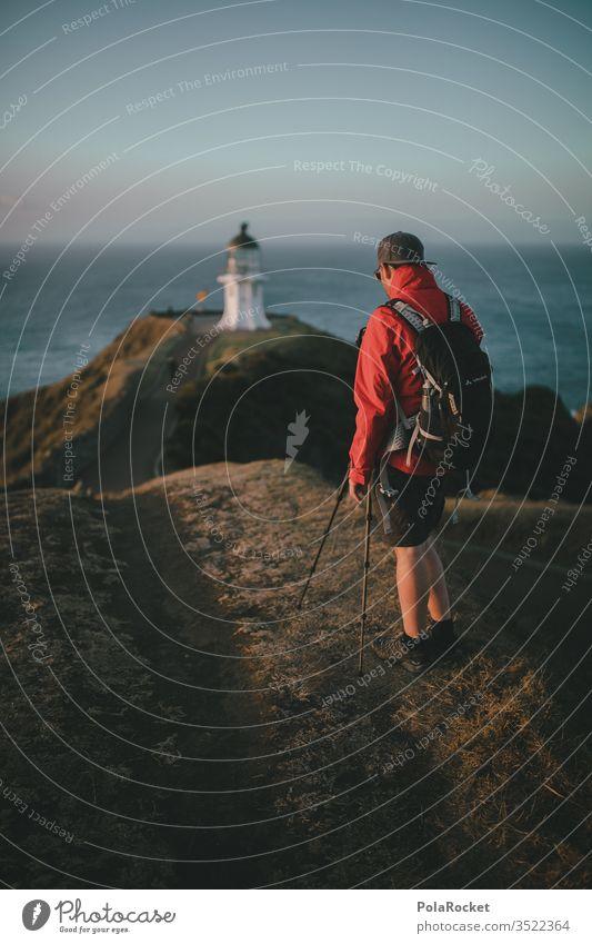 #As# get it in Leuchtturm Küste Meer Landschaft Himmel Natur Farbfoto Außenaufnahme Tag Wolken Schönes Wetter Wasser Horizont Neuseeland Neuseeland Landschaft