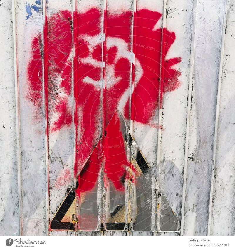 rotes Graffiti einer Faust Kunst Stadt Hand Wand Gebäude Auspuff Tafel Druck Süden Spray Tribal Dakota elektrisch Person schnell Rebellion Illustration Rohr