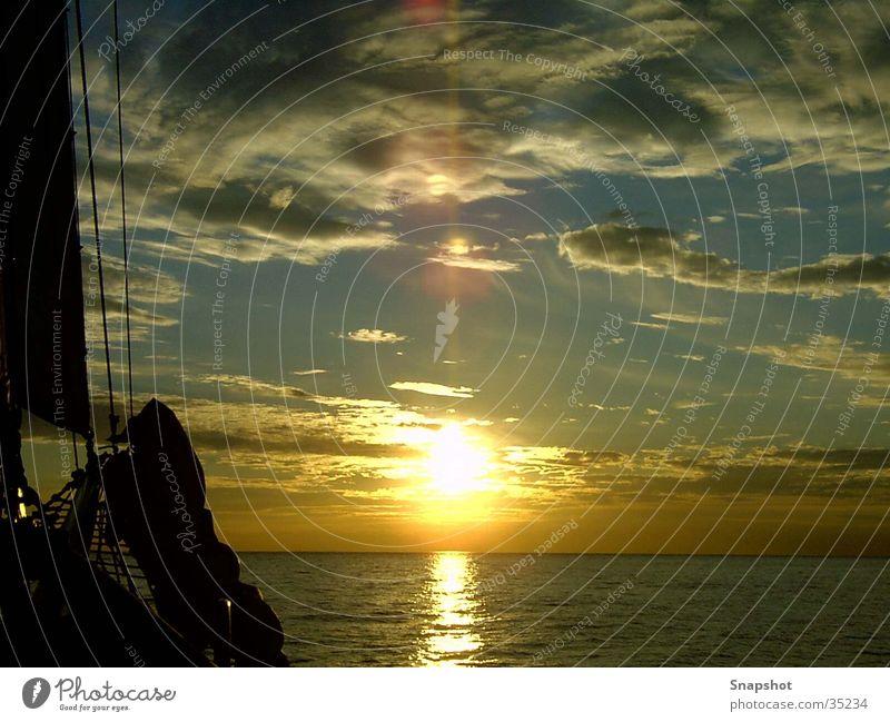 Sonnenuntergang Ostsee Segelboot Meer See Europa