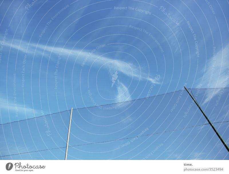 antigolfistischer Schutzwall | Gesundheit sonnenlicht frisch lebendig blau zaun himmel hoch wolken schutz sicherheit Golfplatz dicht grenze privatgrundstück