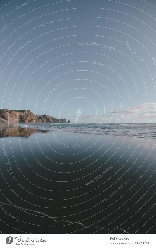 #As# Bethells Beach Neuseeland Neuseeland Landschaft Küste Strand Strandspaziergang Strandleben wasserreflexionen Reflexion & Spiegelung Meer Natur Farbfoto