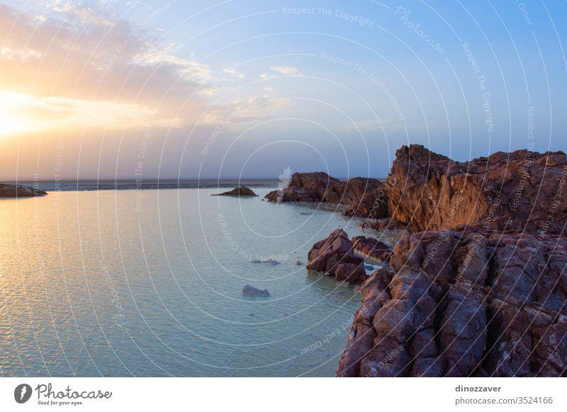 Danakil-Salzebenen im Sonnenuntergang, Äthiopien Natur Dallol Sand Himmel Wasser Afrika reisen Landschaft wüst MEER national heiß See Felsen Morgen