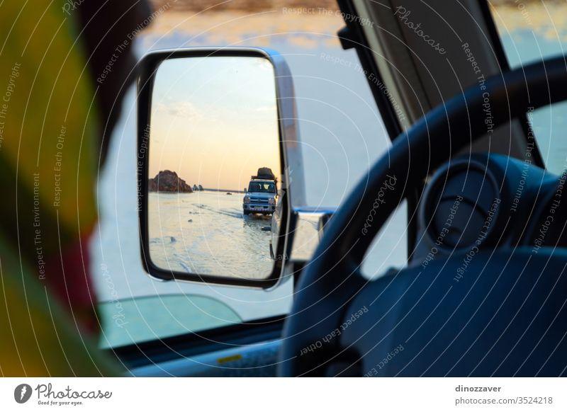 Fahrt über Salinen in der Danakil-Wüste, Äthiopien 4x4 Laufwerk wüst Dämmerung Spiegel Reflexion & Spiegelung reisen Natur Straße Afrikanisch PKW Landschaft