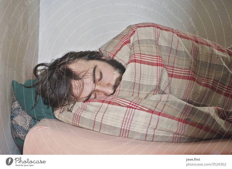 Murmeltier liegenbleiben Morgen Müdigkeit aufschieben Häusliches Leben Student Junger Mann Bett Schlafzimmer Wohnung schlafen dösen Faulheit träumen entfliehen