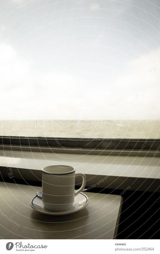 reisen Ferien & Urlaub & Reisen Meer Erholung ruhig Ferne Fenster Zufriedenheit Tisch Getränk Eisenbahn genießen Aussicht Kaffee Lebensfreude trinken