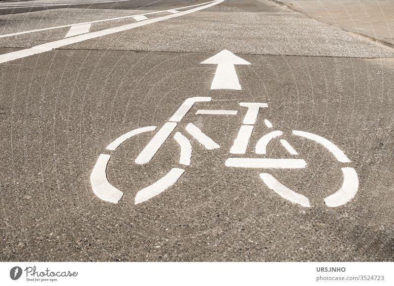 weißes Fahrradsymbol und Pfeil auf einer Fahrbahn Symbol Fahrradweg Straße Richtung Verkehrszeichen Verkehrssymbol Schilder & Markierungen Fahrbahnmarkierung