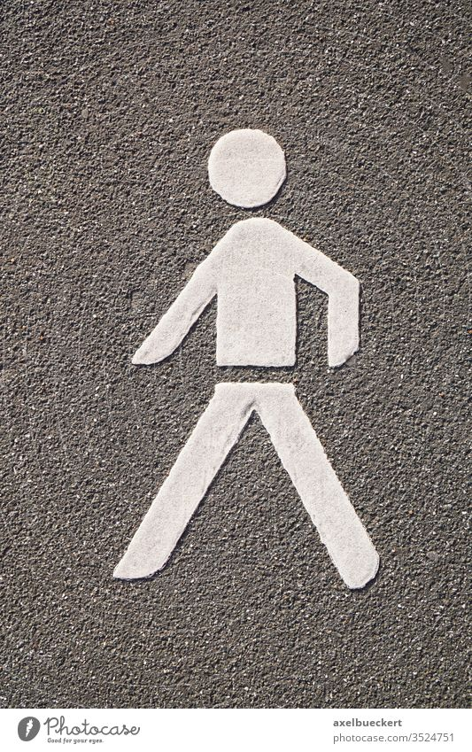 Fußgänger Piktogramm Fußweg Symbol Asphalt Straße Männchen Bürgersteig Verkehr Markierung Zeichen weiß menschliche Repräsentation Figur Weg Straßenbelag