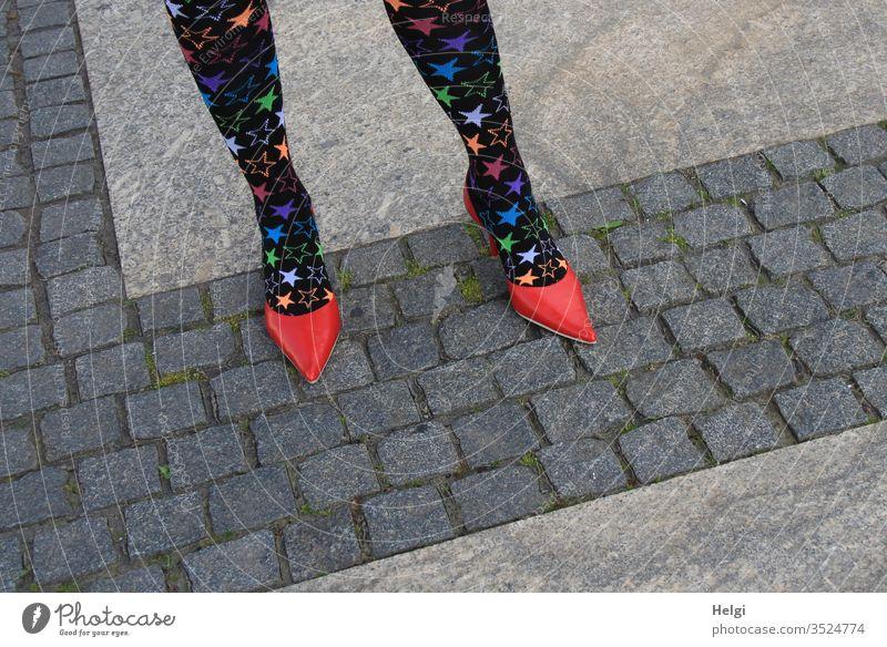 extravagantes Beinoutfit | haute couture Mensch Frau weiblich feminin Beine Füße Strümpfe Pumps Schuhe Beinbekleidung Muster Struktur Pflastersteine Damenschuhe