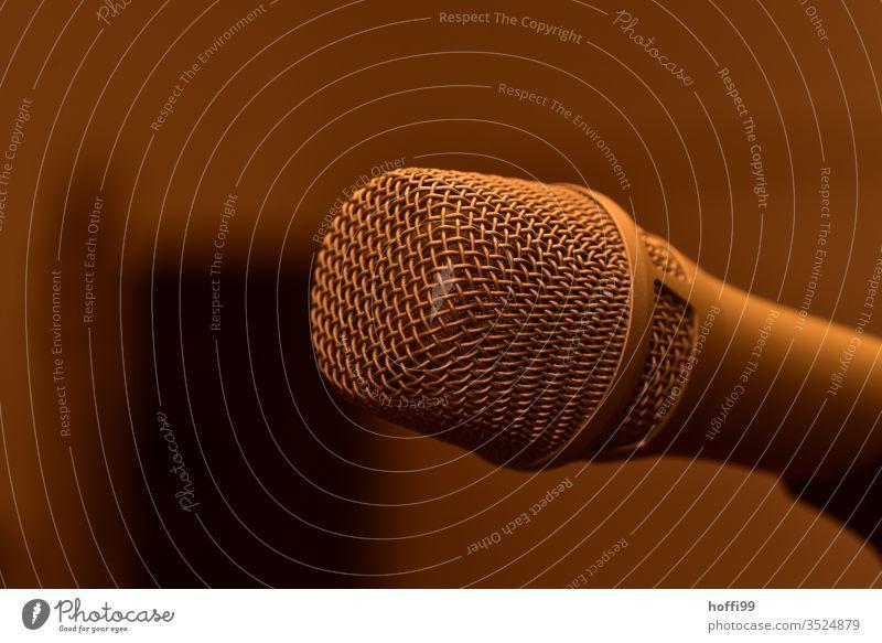 Mikrofon ganz nah Gesang Konzert Bühne Musik Bühnenbeleuchtung Club Kultur Klang Lebensfreude Gefühle Stimmung leuchten Mikrofonständer Band Künstler Tanzen