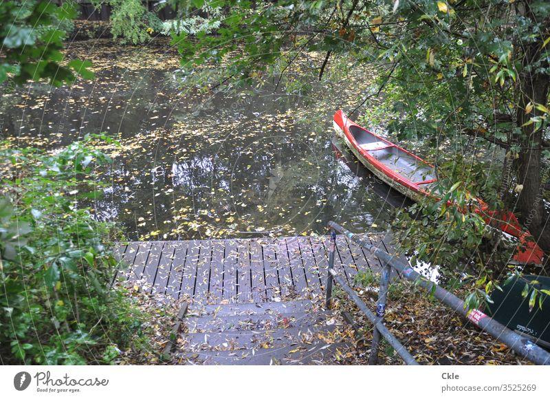 Einsamer Bootssteg mit Kanu Bootsteg Wasser See ruhig Wasserfahrzeug Natur Himmel Ferien & Urlaub & Reisen Farbfoto Reflexion & Spiegelung Ausflug Menschenleer