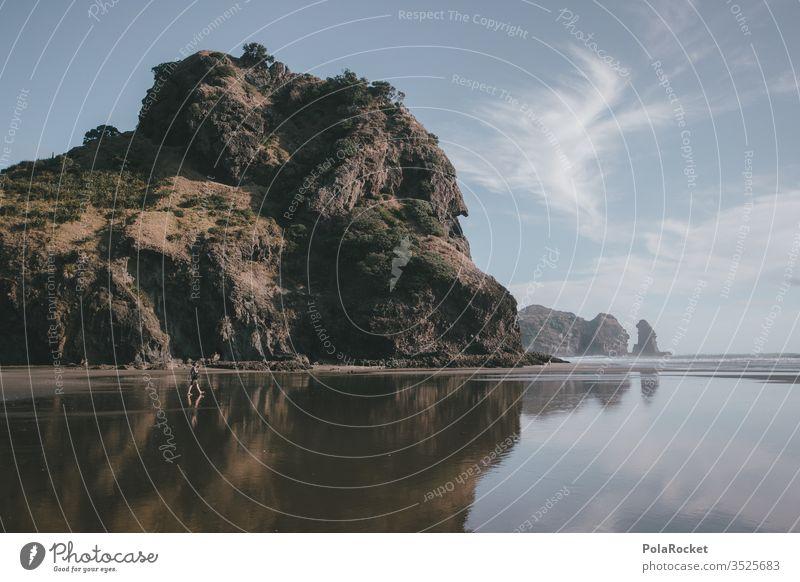 #As# Meersteine Meerwasser Meereslandschaft Ozean Küste Piha Wasser Ferien & Urlaub & Reisen Neuseeland Stein Felsen Felsküste Felsvorsprung Natur Außenaufnahme