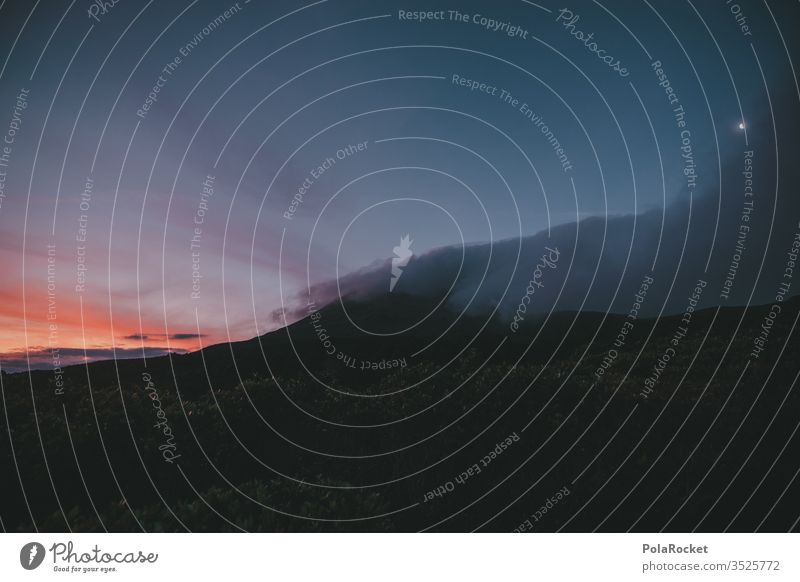 #As# Nacht am Berg mount taranaki Neuseeland Neuseeland Landschaft Gebirge Berge u. Gebirge Gipfel Natur Sonnenuntergang Außenaufnahme Farbfoto Himmel Wolken