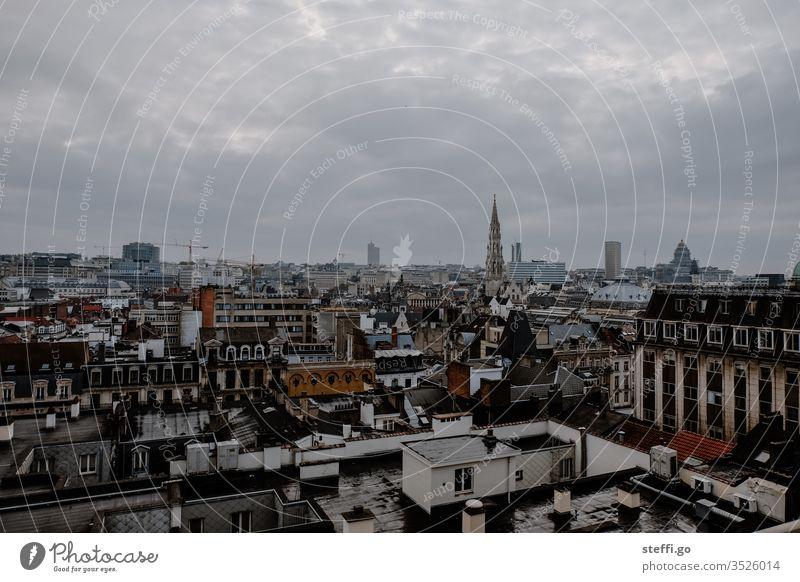 Aussicht auf Brüssel; Belgien Europa Panorama (Aussicht) Aussichtspunkt Stadt Stadtzentrum Stadtzentrum & Innenstadt Außenaufnahme Skyline Farbfoto Gebäude Haus