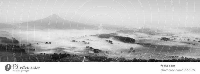 Schwarzweiße, neblige Morgenlandschaft Landschaft schwarz auf weiß Nebel Natur Sonnenaufgang Berge ländlich Herbst Morgendämmerung Nebelstimmung Ländliche Szene