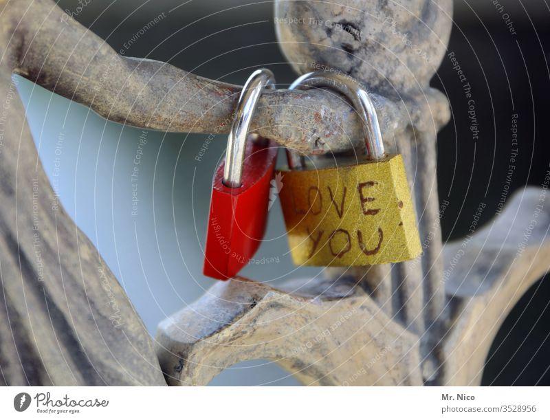 Love you Liebe Herz Gefühle rot Romantik Verliebtheit Sympathie Zusammensein Liebesschloss Treue Freundschaft Partnerschaft Lebensfreude Glück Tag Brücke