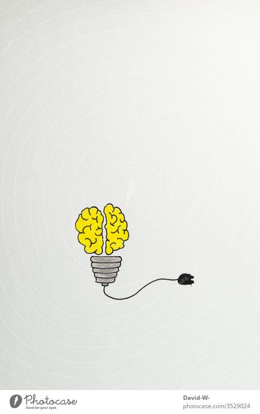 Glühbirne und Gehirn - Idee Zeichnung Kreativität kreativ Denken Kunst Farbfoto Inspiration Bildung Design Schule Konzept Papier zeichnen Nahaufnahme