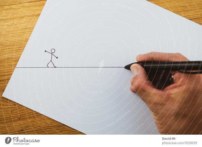 jemandem den Weg ebnen / Wegweiser / Helfende Hand hilfestellung unterstützend Unterstützung Hilfe Strichmännchen kreativ Zeichnung Kreativität Blatt Papier