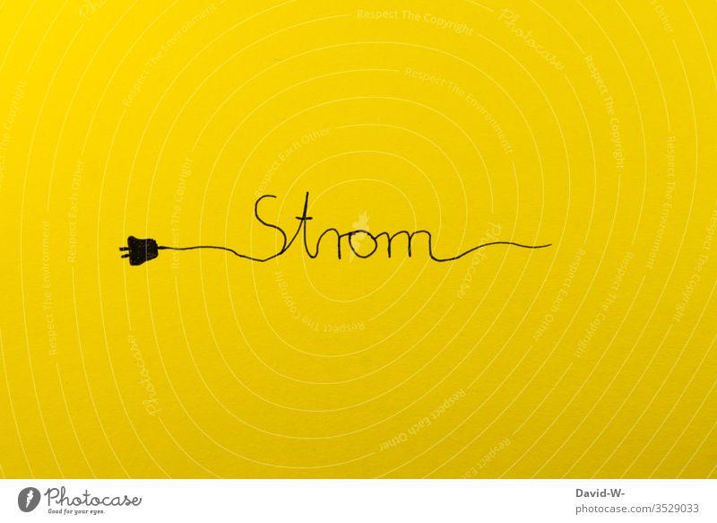 Strom - kreative Darstellung Stromverbrauch Stromtransport Stecker Stromversorgung Stromkreis verbraucher verbraucht teuer Preis gelb Energie Kreativität
