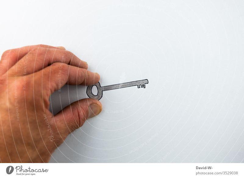Schlüssel in der Hand halten aufschließen Kunst kreativ Zeichnung Schlüsseldienst Sicherheit abschließen schließer lösung Lösungsmittel Ergebnis Schlosser