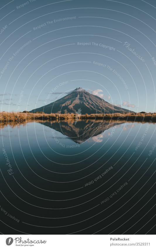 #As# MT mount taranaki Neuseeland Neuseeland Landschaft Berge u. Gebirge Bergkette Gipfel blau Spiegelung Nationalpark Sehenswürdigkeit Außenaufnahme Natur