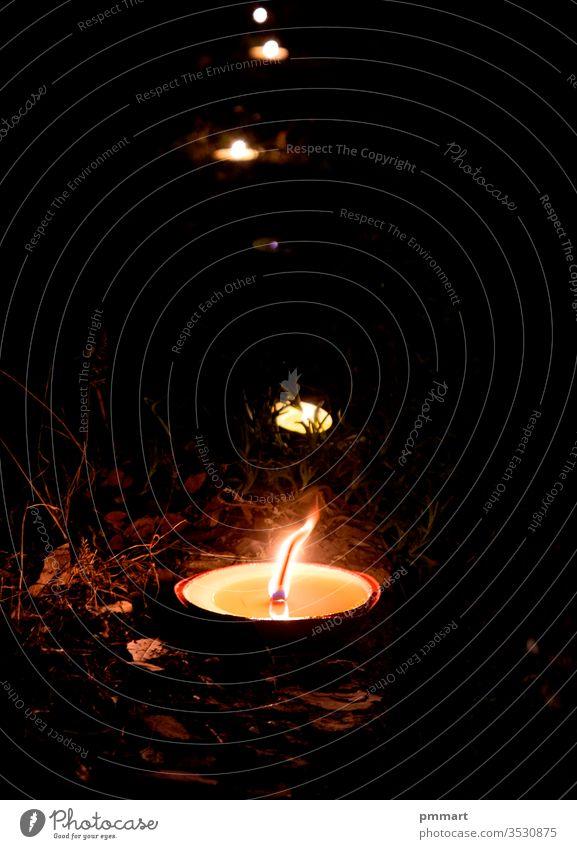 Kerzen erhellen den Weg in der Dunkelheit des Lebens Hoffnungskonzept Beerdigung Ordnung schwarz Blütezeit Blumenstrauß Brandwunde Verpflegung Feier Weihnachten