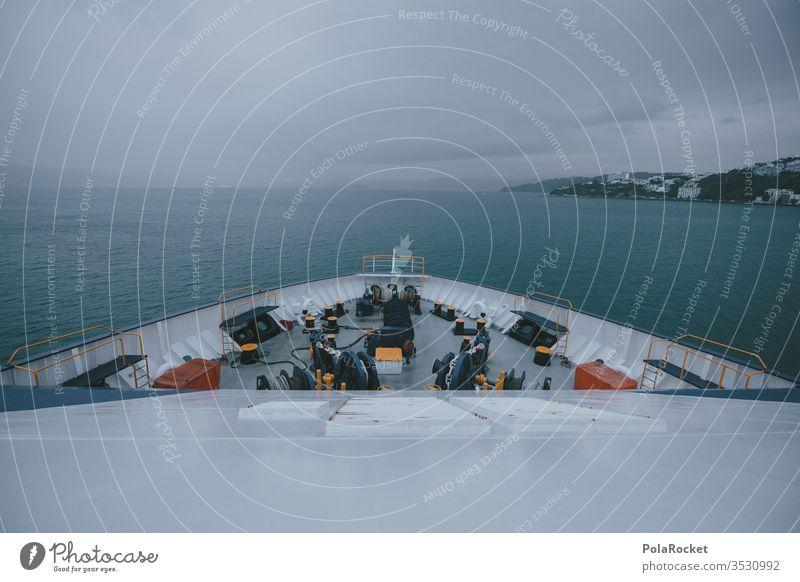 #As# Schiffspitze Neuseeland Neuseeland Landschaft Meer Ozean Schifffahrt Schiffsbug Schiffsdeck weite Abenteuer Reisefotografie Außenaufnahme Farbfoto Natur