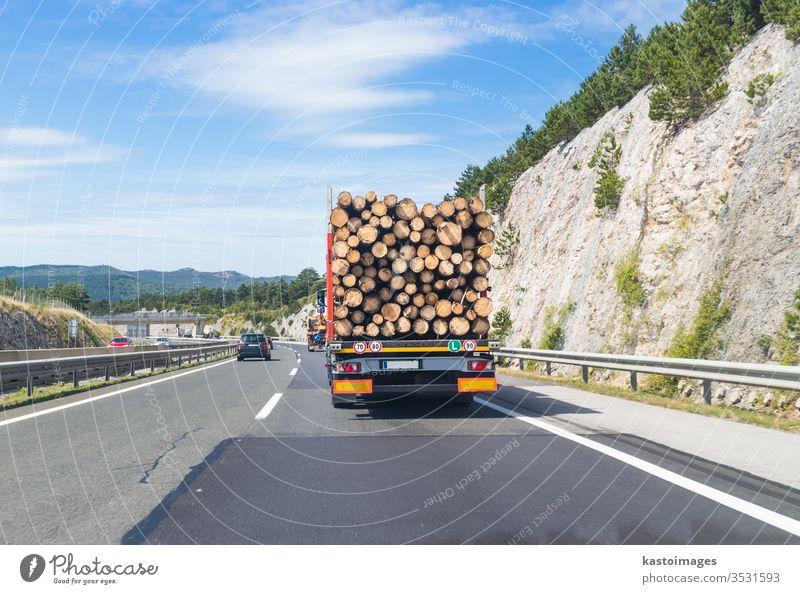 Holztransporter auf der Autobahn. Lastwagen Nutzholz Transport Straße Verkehr Wald Totholz Abholzung Lastkraftwagen Industrie Baum schwer Fahrzeug Rohstoffe