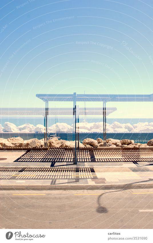 Doppelt belichtet hält besser II Mallorca Palma de Mallorca Strand Mittelmeer Bushaltestelle Doppelbelichtung Ferien & Urlaub & Reisen Spanien mediterran Sommer