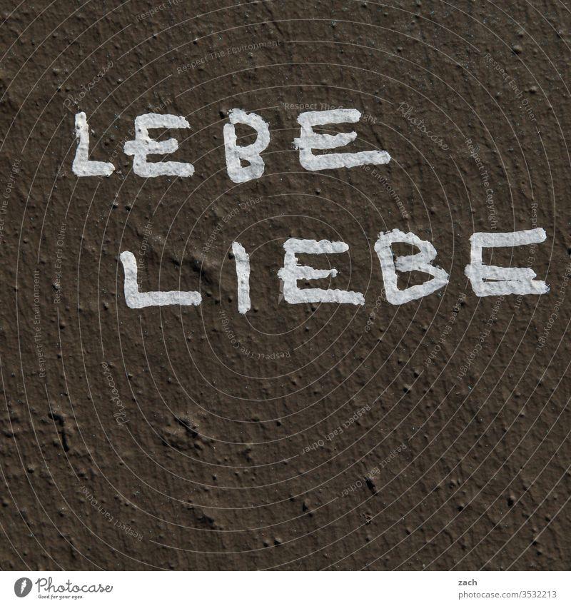 Aufschrift Lebe Liebe an einer Fassade Schilder & Markierungen Schriftzug Buchstaben Street Art Berlin Gebäude grau Mauer Schriftzeichen Graffiti Wand Zeichen