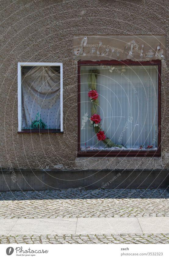 Schaufenster eines ehemaligen Ladebgeschäfts Stadt Haus Architektur Wohnhaus Fassade Fenster Gebäude kaputt Vergänglichkeit Verfall Kunst alt Stein Wand Mauer