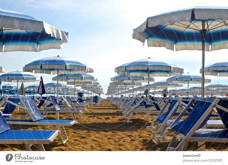 blaue Sonnenliegen mit passenden Sonnenschirme Sommer Ferien & Urlaub & Reisen Erholung Außenaufnahme Menschenleer Tag Tourismus Strand Himmel grün gestreift
