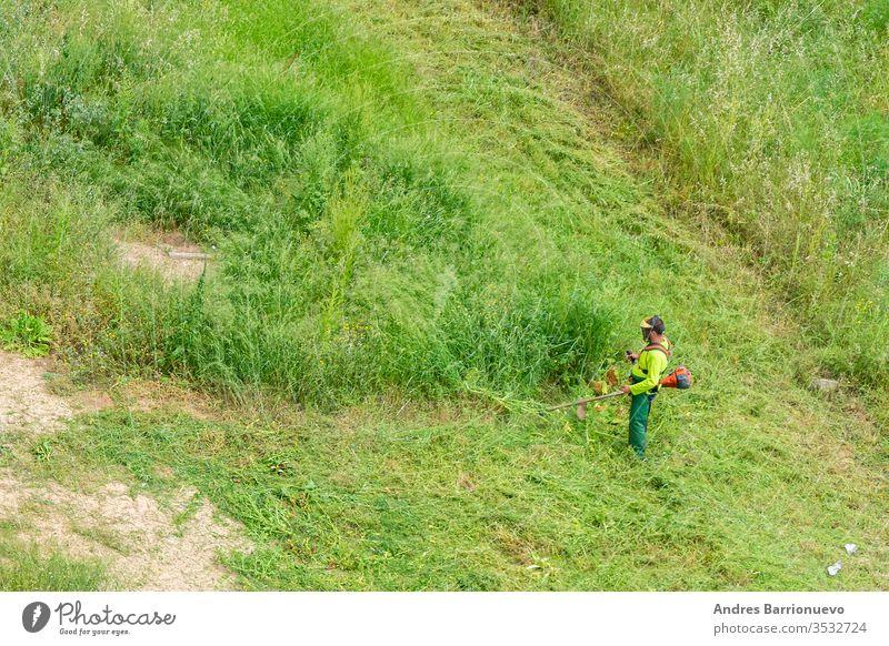Mann in Arbeitskleidung und ausgerüstet mit einem professionellen Freischneider, der das grüne Gras eines Solar Kraft im Freien Porträt Klinge Baum Schneiden
