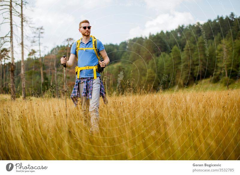 Junger Wanderer geniesst einen sonnigen Tag auf dem Berg Natur Sommer Tourist wandern Abenteuer reisen jung Reise Wald Lifestyle im Freien Landschaft aktiv