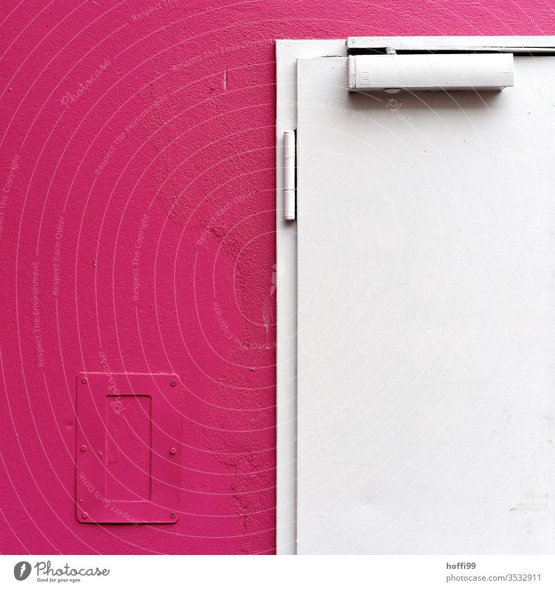 weiße Tür an einer rosa Wand rosa Hintergrund minimalistisch Muster Linie abstrakt einfach Design Strukturen & Formen Stil minimalistischer Hintergrund modern