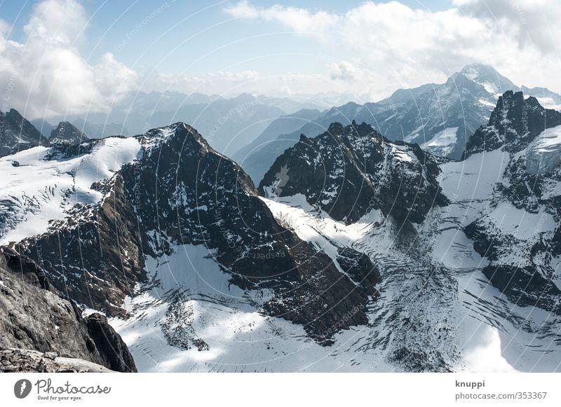 Engelberg Umwelt Natur Landschaft Urelemente Luft Wasser Himmel Wolken Horizont Sonne Sonnenlicht Winter Schönes Wetter Nebel Eis Frost Schnee Felsen Alpen