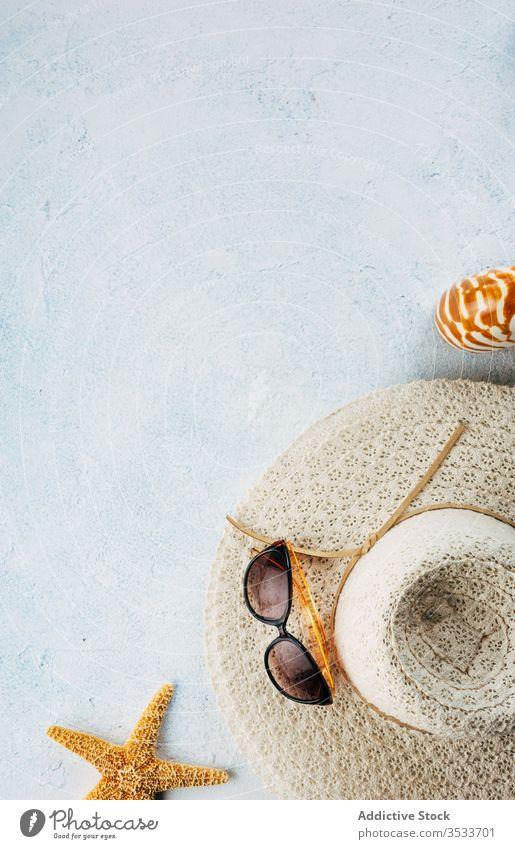 Sonnenbrille und Hut auf Stuckoberfläche in der Nähe von Muscheln Sommer Urlaub Stil Accessoire Oberfläche Strand Zusammensetzung trendy Mode verputzen reisen