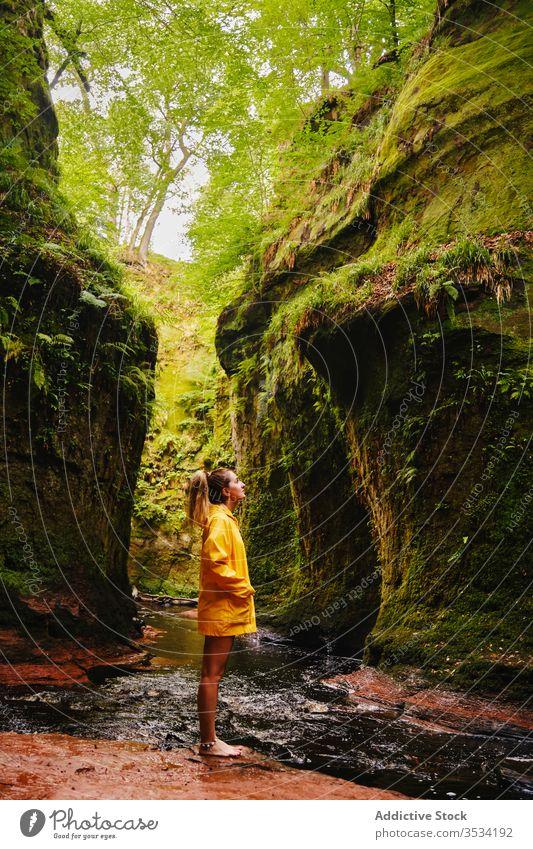 Weibliche Touristin steht in der Nähe von Wasserfall und grünem Berg Berge u. Gebirge Natur erkunden stehen Frau idyllisch Fernweh Paradies Urlaub Kaskade