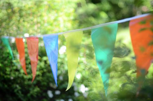 Sommerfest Freude Frühling Feste & Feiern Party Garten Stimmung Geburtstag leuchten Sträucher Dekoration & Verzierung Fahne hängen Girlande Gartenfest