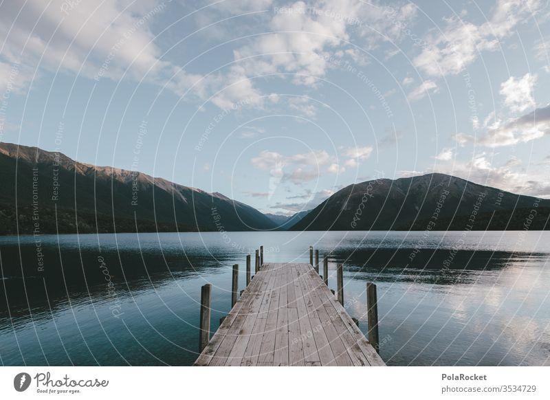 #As# Einmal See Ohne Alles Seeufer Steg Holzsteg Neuseeland Neuseeland Landschaft Idylle Ausflug Ausflugsziel wandern Wanderung Natur Außenaufnahme Farbfoto