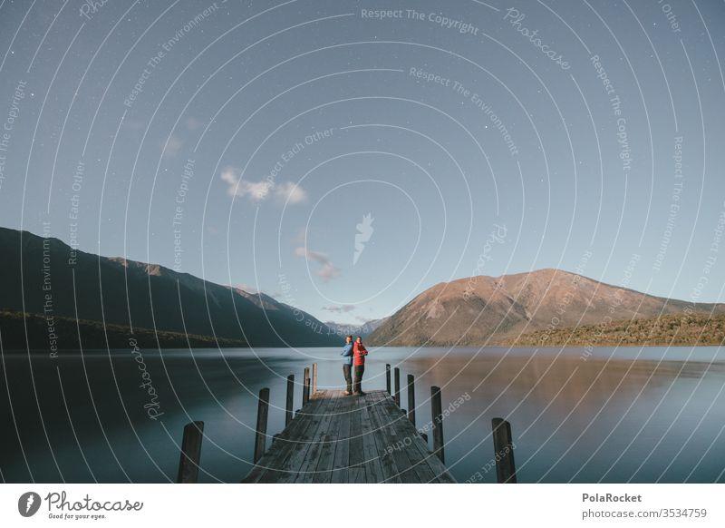 #AS# Mondscheingesichter See Seeufer Wasser Neuseeland Neuseeland Landschaft Berge u. Gebirge wandern Außenaufnahme Wanderung Natur Ausflugsziel Idylle Holz