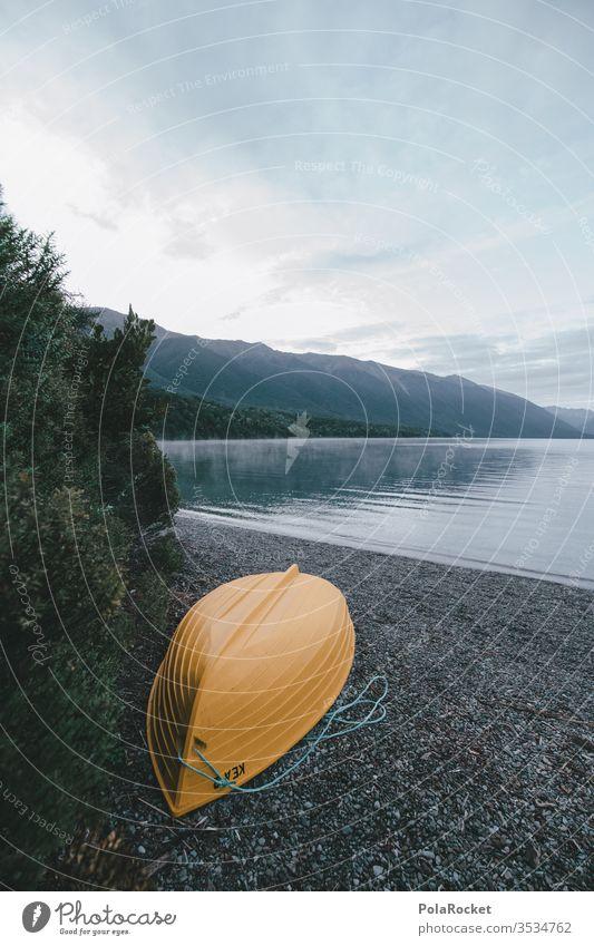 #As# SeeGelb Neuseeland Neuseeland Landschaft Boot Bootsfahrt bootstour Morgen Morgendämmerung Morgennebel Morgenland morgens Nebel Nebelschleier Nebelstimmung
