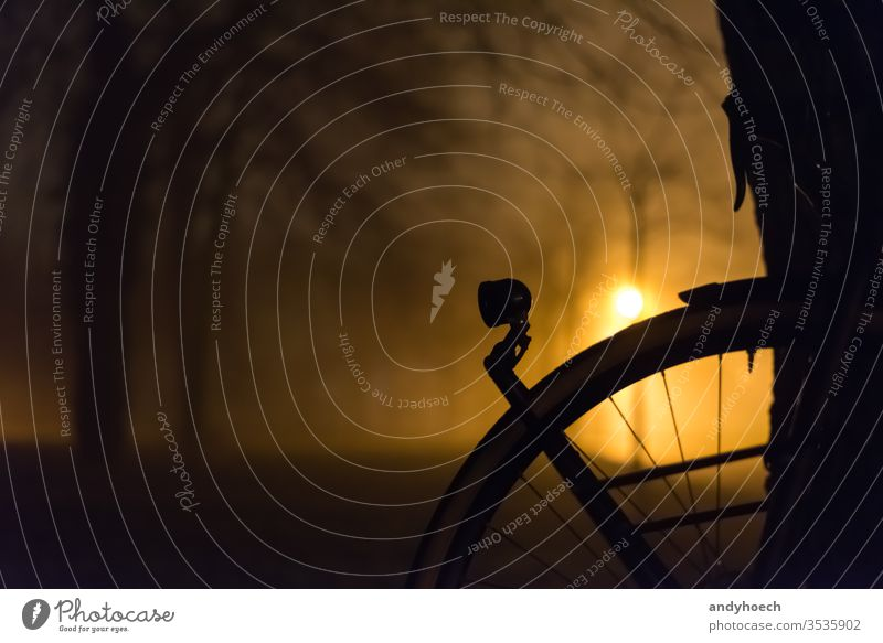 Die Frontlampe eines Fahrrads in der Nacht Aktivität Abenteuer Herbst schön Fahrradlampe Radfahren Ast Niederlassungen Zyklus Fahrradfahren Radfahrer Abend