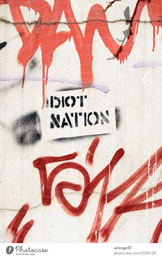 Idiot Nation - Graffito auf einer Hauswand sprayen sprühen Farbe Schablonentechnik Graffiti Wand Farbfoto Menschenleer Tag Mauer Außenaufnahme Fassade